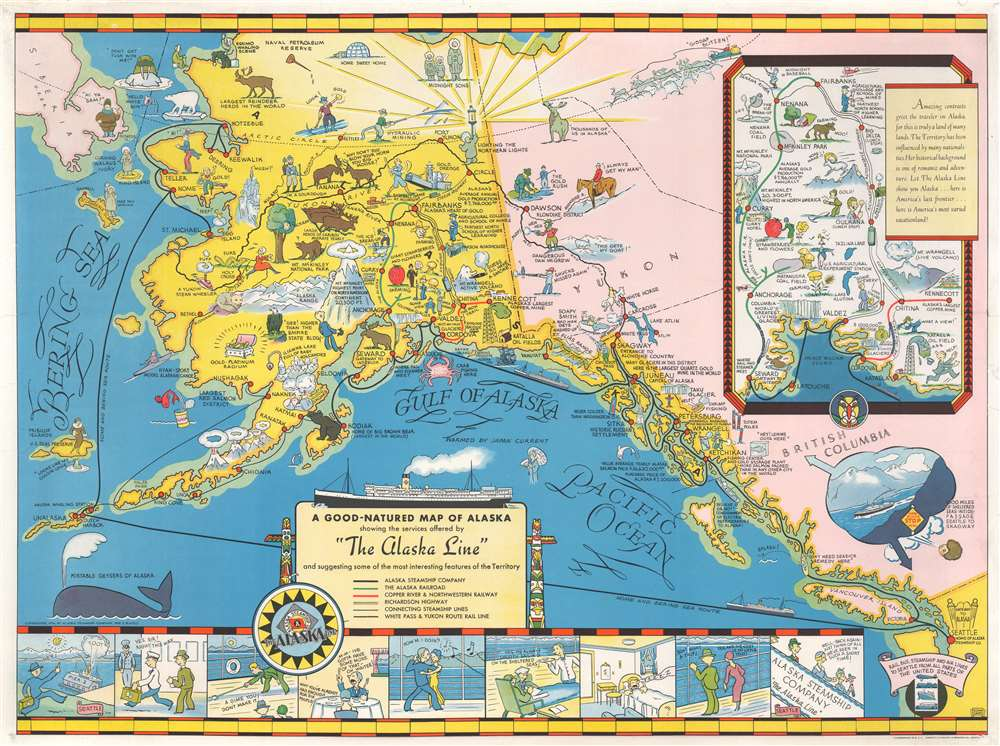 A Good-Natured Map of Alaska, showing the services offered by 'the Alaska Line' and suggesting some of the most interesting features of the Territory. - Main View