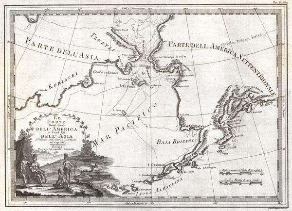 Le Coste Nord Ovest Dell' America e Nord Est Dell' Asia Delineate sulle ultime Osservazioni del Cp. Cook.