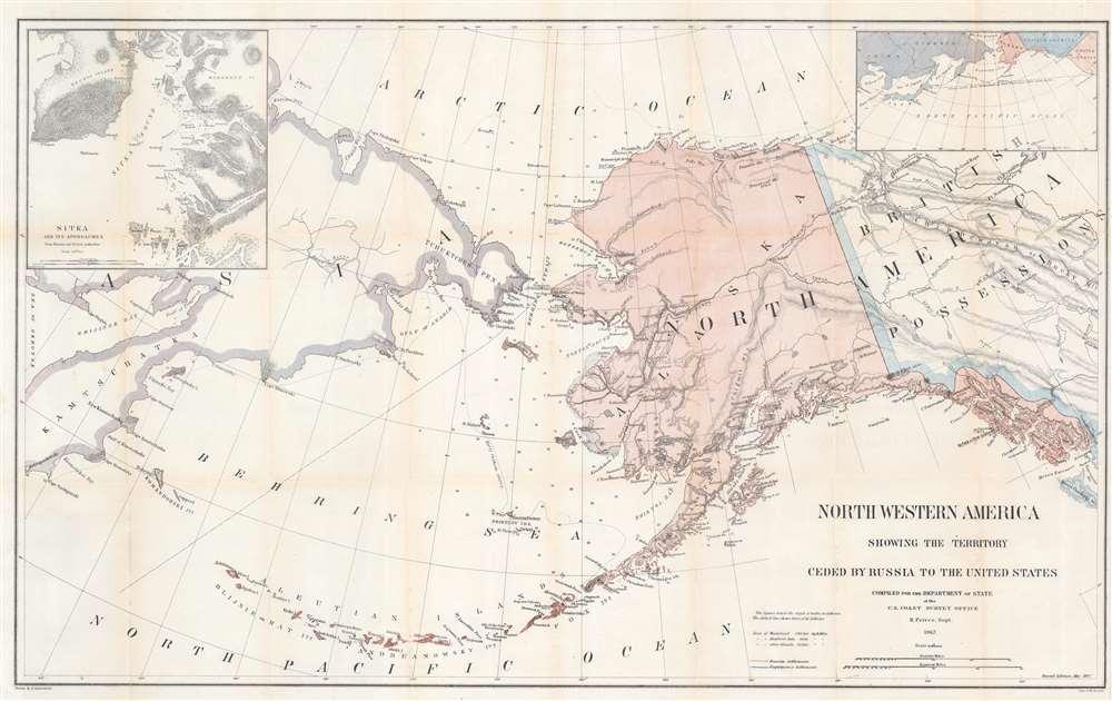 1867 Lindenkohl Map of Alaska - first map to name Akaska
