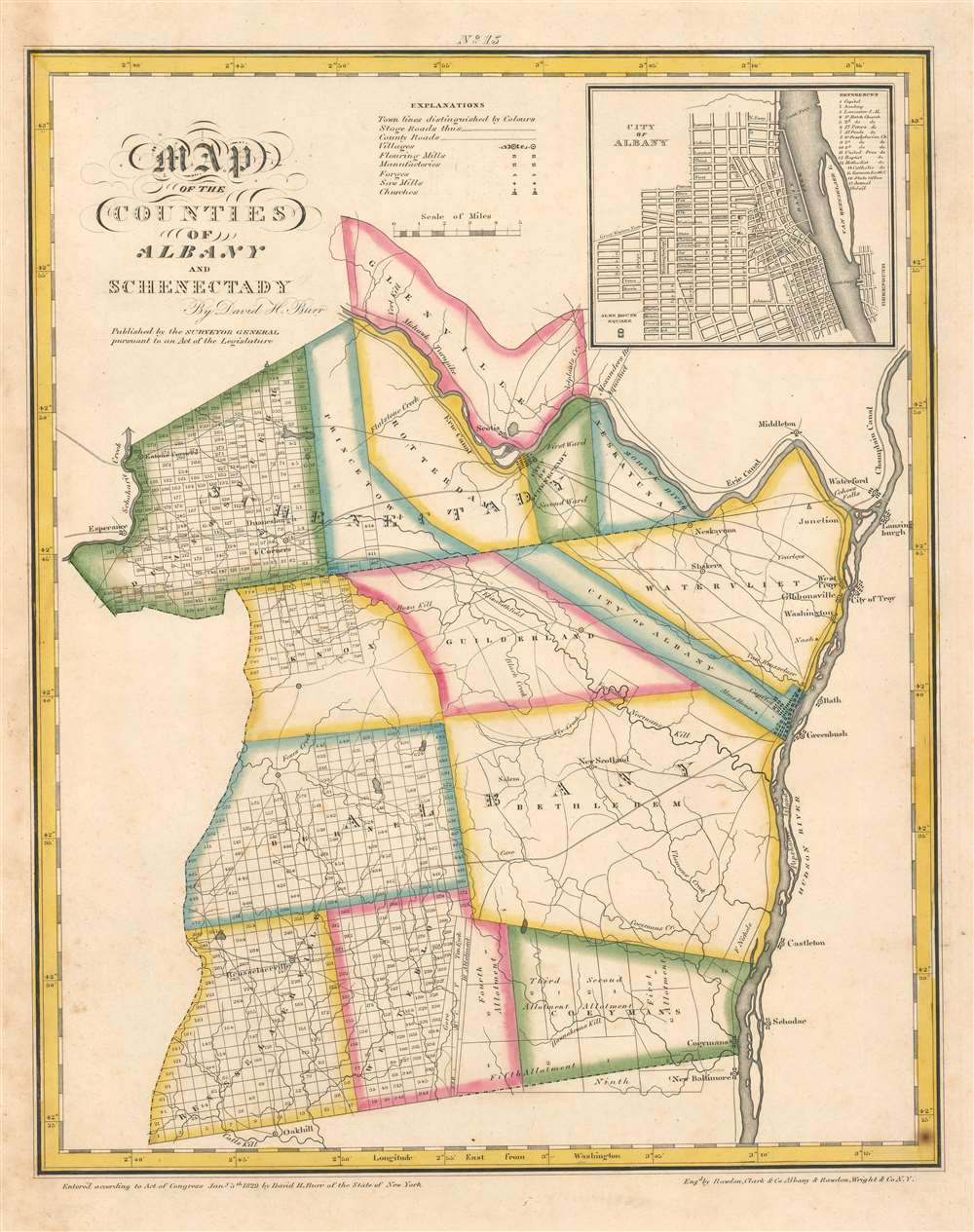 1829 Burr Map of Albany and Schenectady Counties, New York