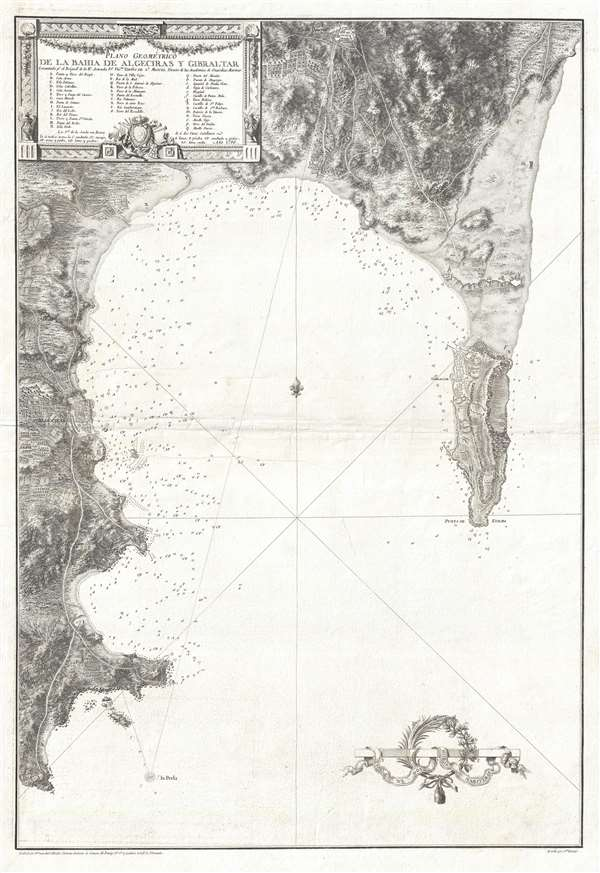 1786 Tofiño Nautical Chart or Map of Gibraltar and the Bay of Gibraltar