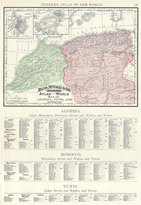 Map of Algeria, Tunis, and Morocco.