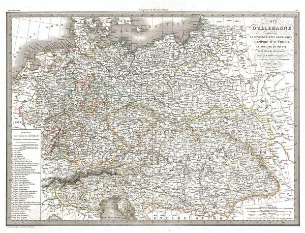 Carte d'Allemagne comprenant la Confederation Germanique l'Empire d'Autriche le Royaume de Prusse et le Royaume de Pologne.