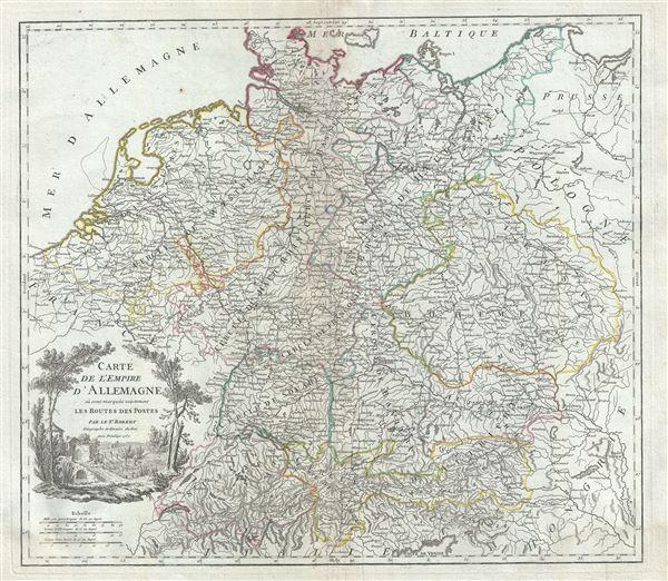 Carte de l'Empire d'Allemagne ou sont marquees exactement les Routes des Postes.