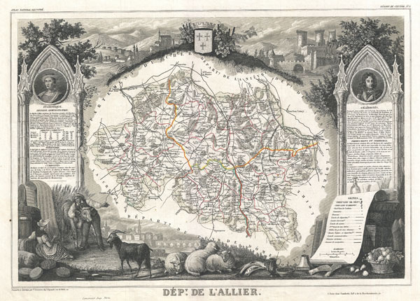 1852 Levasseur Map of L'Allier Department, France (Saint-Pour�ain Wine Region)