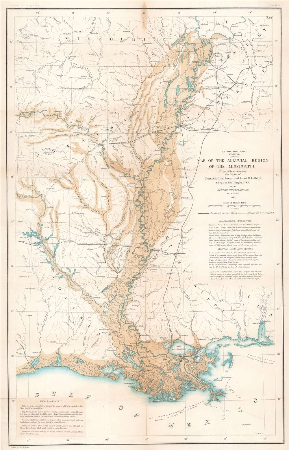 U.S. Miss. Delta Survey. Plate II. Map of the Alluvial Region of the Mississippi. - Main View