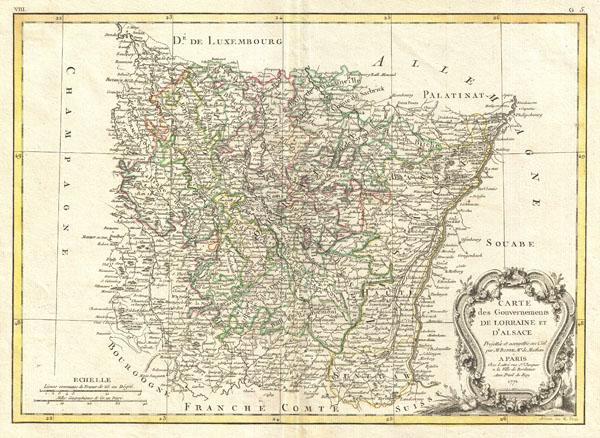 Carte des Gouvernements de Lorraine et D'Alsace. - Main View