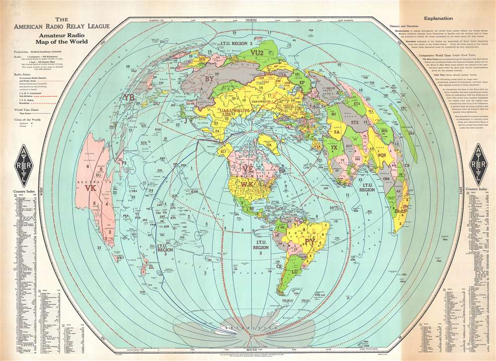 The American Radio Relay League Amateur Radio Map Of The World