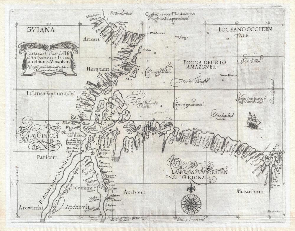 Carta Particolare dell'Rio d'Amazone con la costa sin al fiume Maranhan.