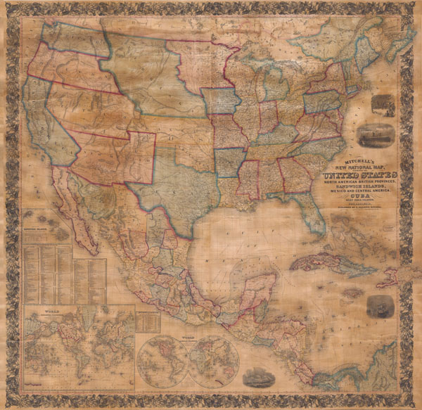 Mitchells New National Map Of The United States North American - Map of united provinces india