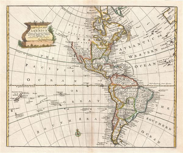 A New General Map of America Drawn from several Accurate particular Maps and Charts and Regulated by Astronomical Observations.
