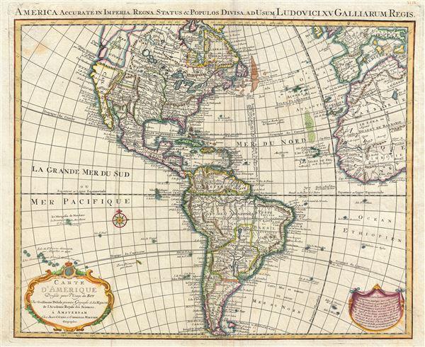 America Accurate in Imperia, Regna, Status & Populos Divisa, ad Usum Ludovici XV, Galliarum Regis.  /  Carte d'Amerique Dressee pour l'Usage du Roy.