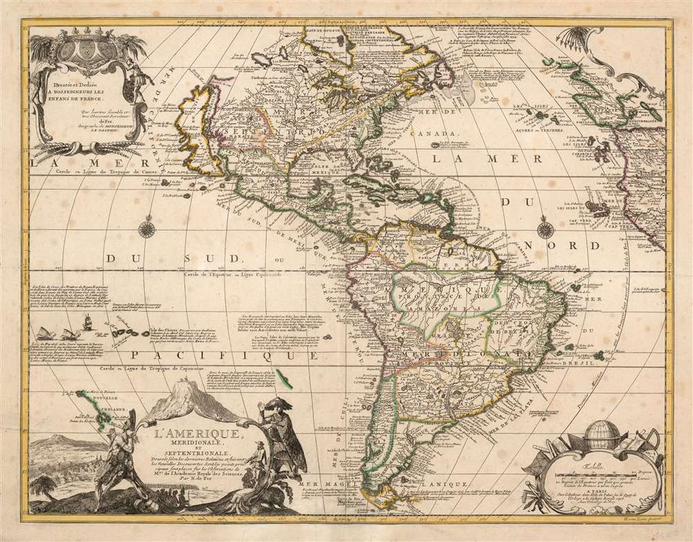 1699 De Fer map of America in a Rare Early State