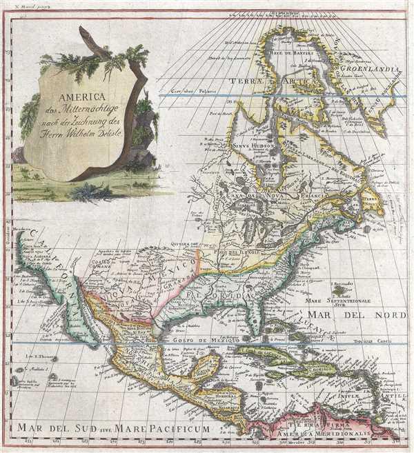America das Mitternächtige nach der Zeichnung des Herrn Wilhelm Delisle.