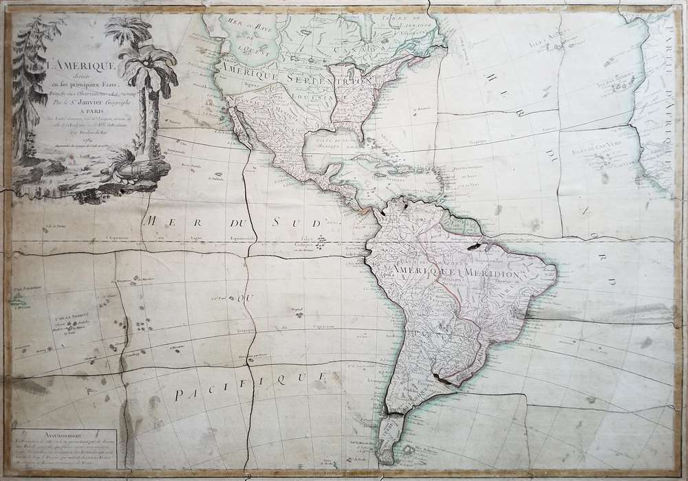 1784 Janvier Puzzle Map of America w/Sea of the West