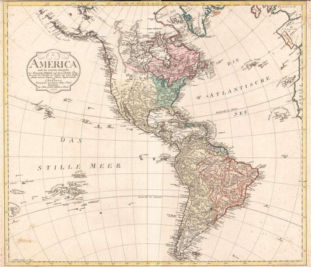America nach der zweyten Ausgabe von Arrowsmiths Weltcharte und dessen Globular Projection nach den Berichten der Jesuiten und anderer Reisebe Schreiber, und nach Raymals, Gatterers, Angaben entworten von C. Mannert.