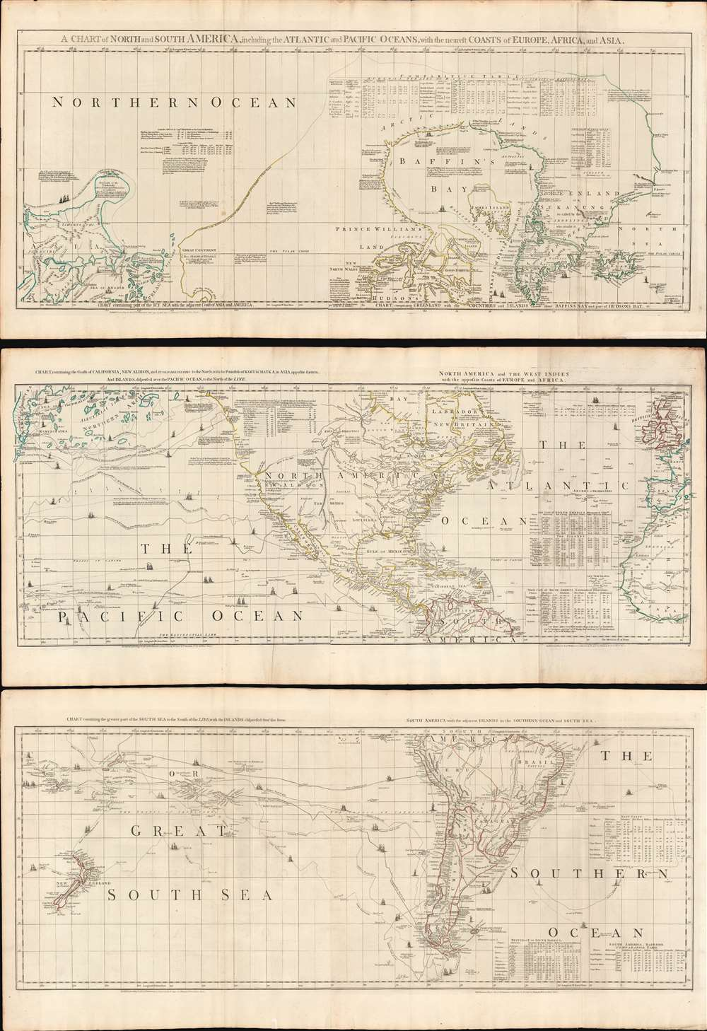 A Chart of North and South America, including the Atlantic and Pacific Oceans, with the nearest Coasts of Europe, Africa, and Asia. - Main View