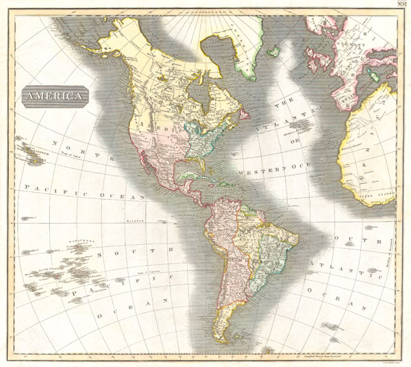 1814 Thomson Map of North and South America