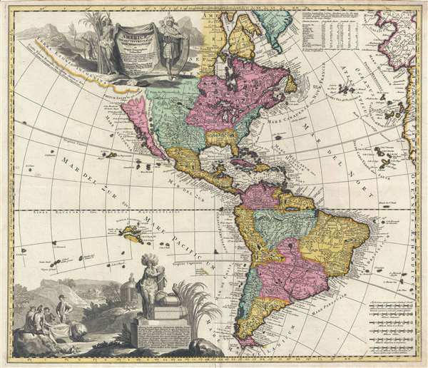 1709 Zurner Map of South and North America