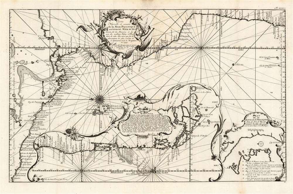 Carte nouvelle et exacte de la mer Pacifique autrement Mer du Sud / dressée sur les memoires et les avis des meilleurs pilotes et routiers de cette mer, ainsi que sur les observations les plus exactes de l'Astronomie et de la navigation en 1744