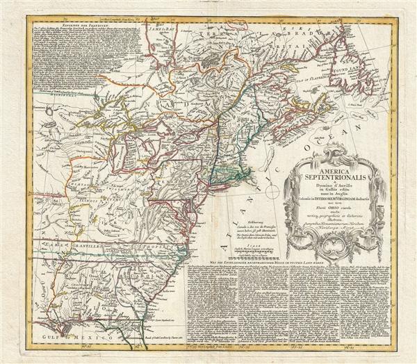 America Septentrionalis a domino d'Anville in Galiis edita nunc in Anglia coloniis in interiorem Virginiam deductis nec non fluvii Ohio cursu aucta notisq geographicis et historicis illustrata.