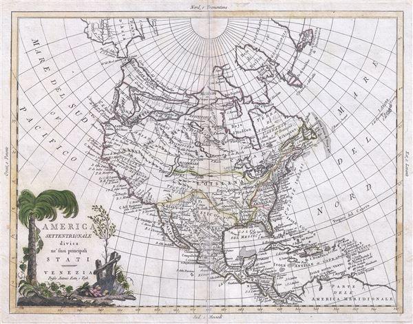 America Settentrionale divisa ne'suoi principali Stati.