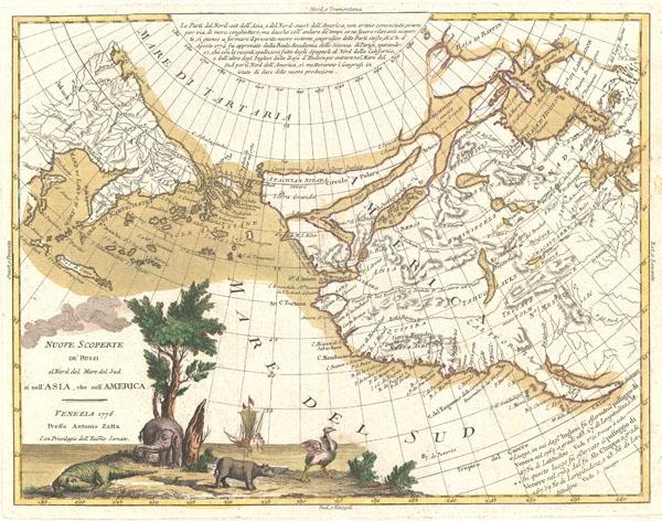 Nuove Scoperte De'Russi al Nord del Mare del Sud si nell'Asia, che nell'America