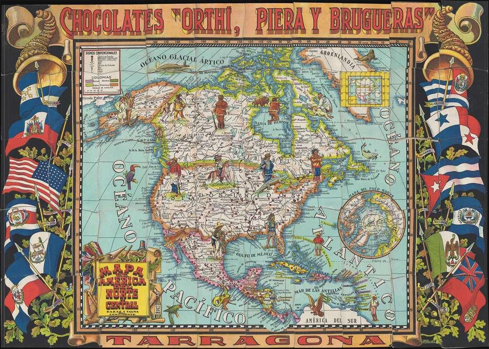 Mapa de America del Norte y Central, Razas y Fauna del Continente.