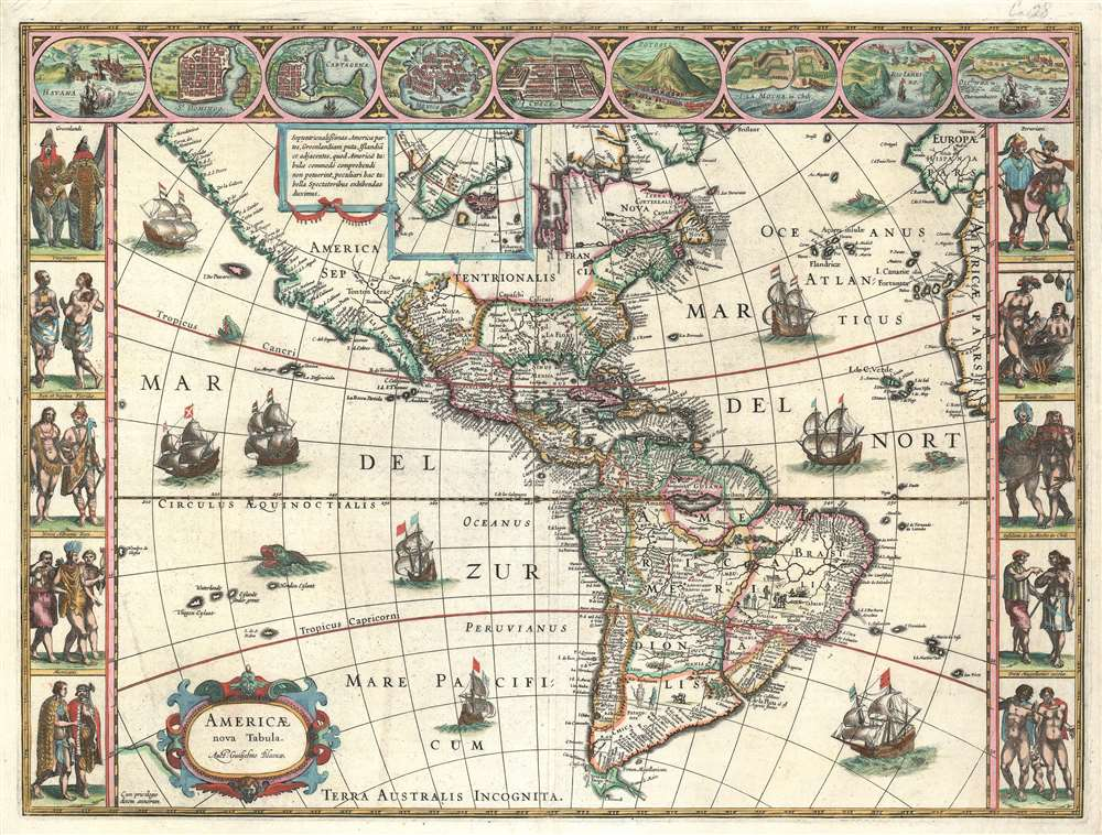 1635 G. Blaeu Map of America