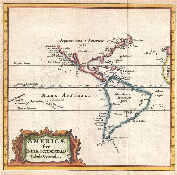 Americae sive Indiae Occidentalis Tabula Generalis.