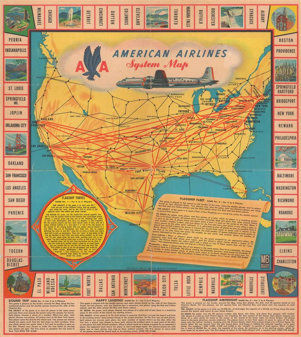 American Airlines System Map. - Main View