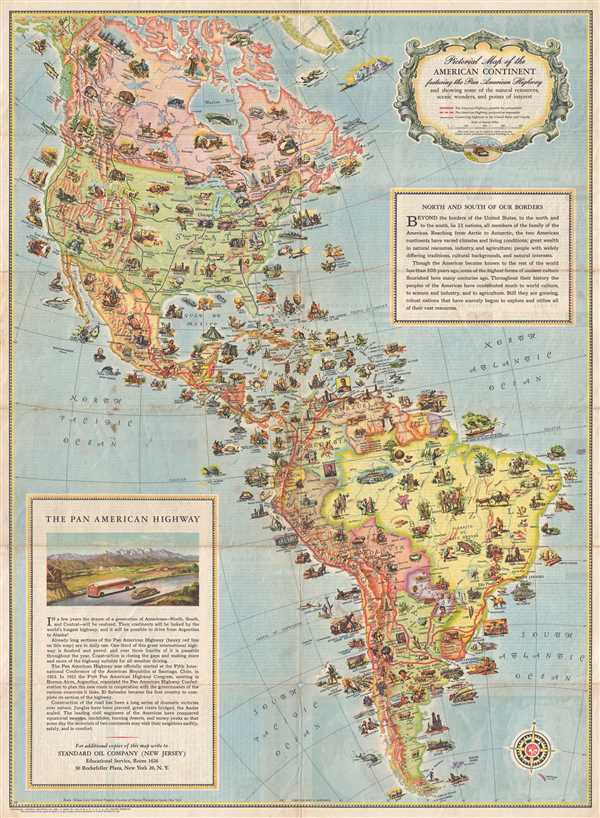 Pictorial Map of the American Continent following the Pan American Highway and showing some of the natural resources, scenic wonders, and points of interest.
