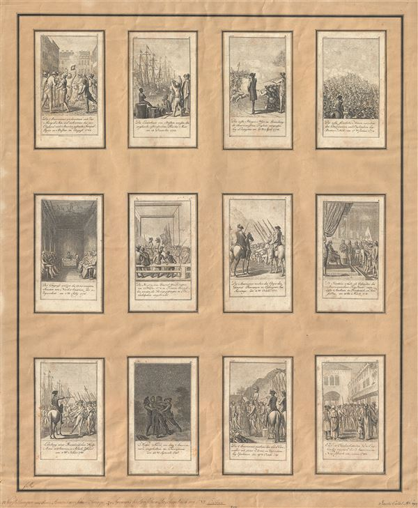 [Scenes from events and battles leading up to and during the American Revolution, 1775-1783, as depicted in 12 illustrations]�