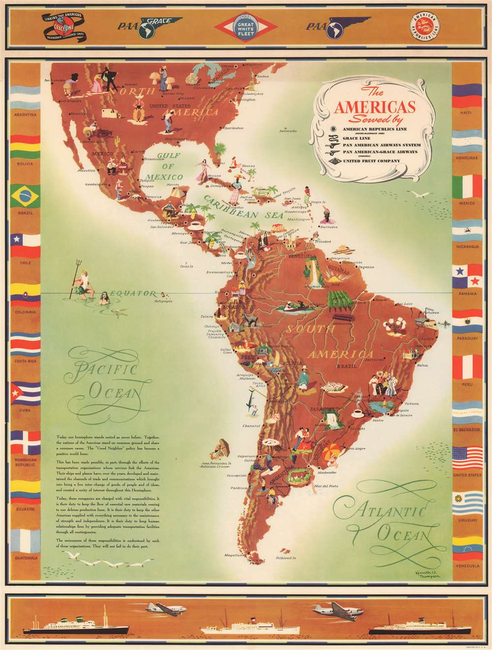 The Americas Served by American Republic Lines ; Grace Line ; Pan American Airways System Pan American-Grace Airways ; United Fruit Company. - Main View