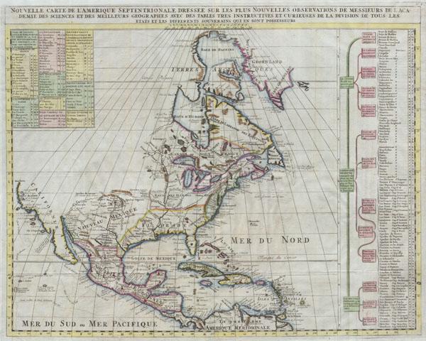Nouvelle Carte de l' Amerique Septentrionale Dressee sur les plus Nouvelles Observations de Messieurs de l' Academie