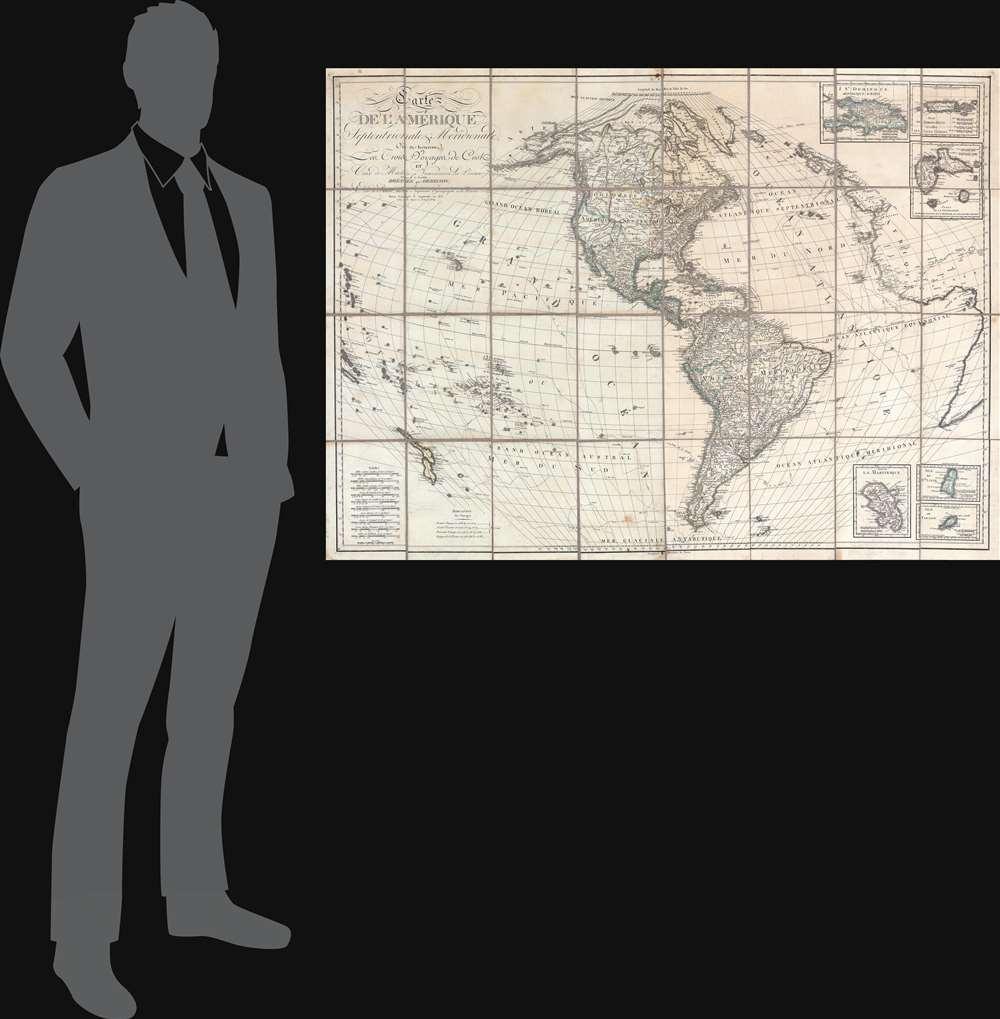Carte de l'Amérique Septentrionale et Meridionale, ou se trouveur les Trois Voyages de Cook et Ceux de MacKenzie, Vancouver et La Perouse, Parry et Franklin, Dresée par Herisson, eleve de Bonne, ancien Ingénieuo hydrographe de la Marine. - Alternate View 1