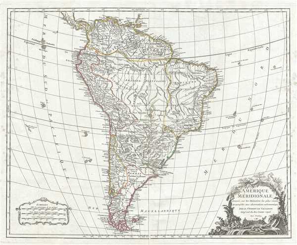 Amerique Meridionale, dressee, sur les Memoires les plus recents et assujetie aux observations astronomique.