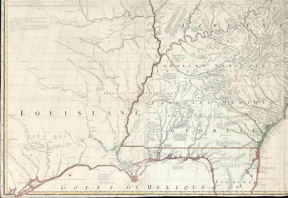 Amerique Septentrionale avec Les Routes, Distances et miles, Villages et Etablissements François et Anglois Par le Docteur Mitchel. - Alternate View 3