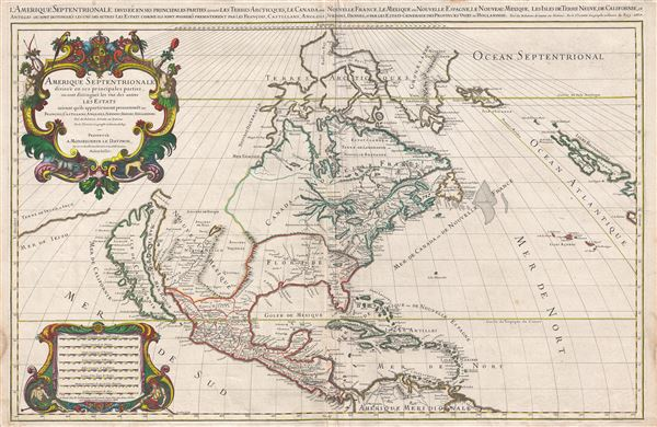 Amerique septentrionale divisee en ses principales parties, ou sont distingues les vns des autres les estats suivant qu'ils appartiennent presentemet aux Francois, Castillans, Anglois, Suedois, Danois, Hollandois, tiree des relations de toutes ces nations par le S. Sanson, geographe ordinaire du roy. 1674.
