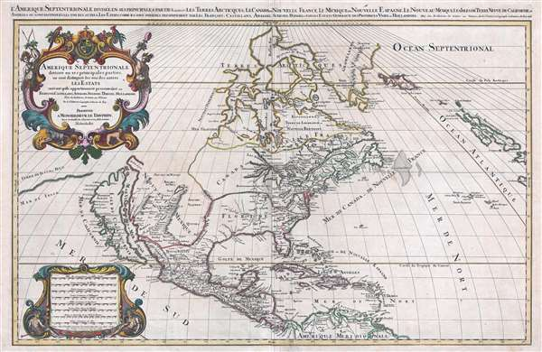 1686 Jaillot Map of North America w/ California as an Island