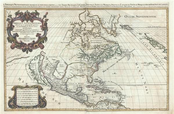 Amerique septentrionale divisee en ses principales parties, ou sont distingues les vns des autres les estats suivant qu'ils appartiennent presentemet aux Francois, Castillans, Anglois, Suedois, Danois, Hollandois, tiree des relations de toutes ces nations par le S. Sanson, geographe ordinaire du roy. 1692.
