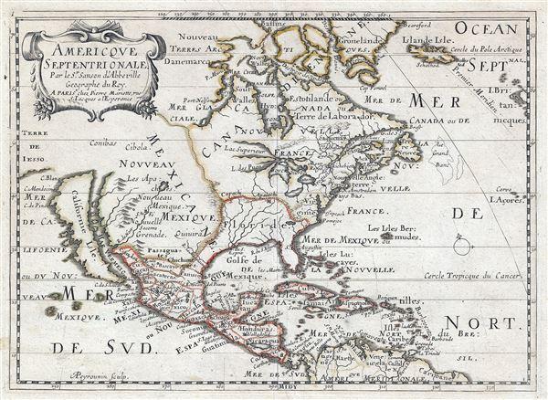 Americque Septentrionale. Par le Sr. Sanson d'Abbeville Geograph du Roy.
