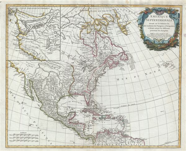 Amerique Septentrionale dressee sur les Relations les puls modernes des Voyageurs et Naviageurs, et divisee suivant les differentes possessions des Europeens.