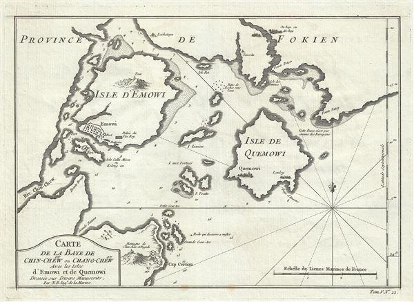 Carte de la Baye de ou Chin-Chew ou Chang-Chew Avec les Isles D'Emowi et de Quemowi.