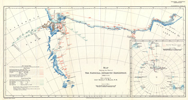 Map Showing the Work of The National Antarctic Expedition. 1902 - 3 - 4.