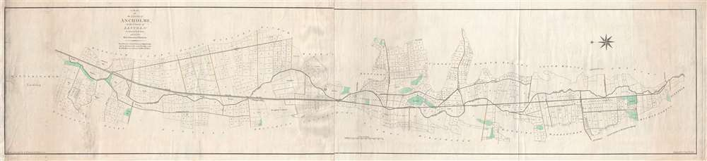 1791 Johnson and Dalton Map of the Ancholme River in Lincolnshire, England