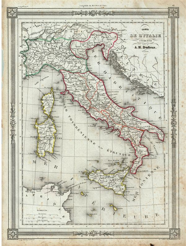 Carte de l'Italie Ancienne. - Main View