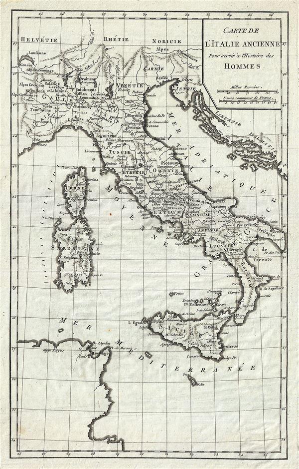 Carte de l'Italie Ancienne.