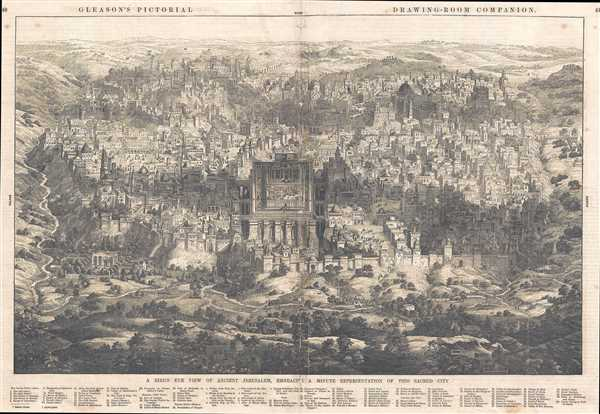 A Bird's Eye View of Ancient Jerusalem, Embracing a Minute Representation of this Sacred City.