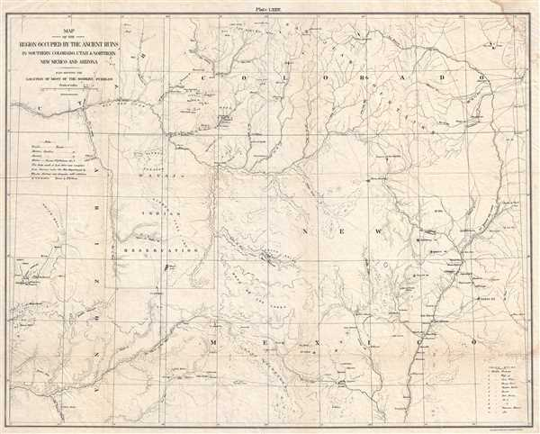 Pueblos New Mexico Map.Map Of The Region Occupied By The Ancient Ruins In Southern Colorado
